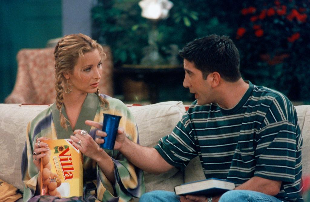 Lisa Kudrow as Phoebe Buffay and David Schwimmer as Ross Geller