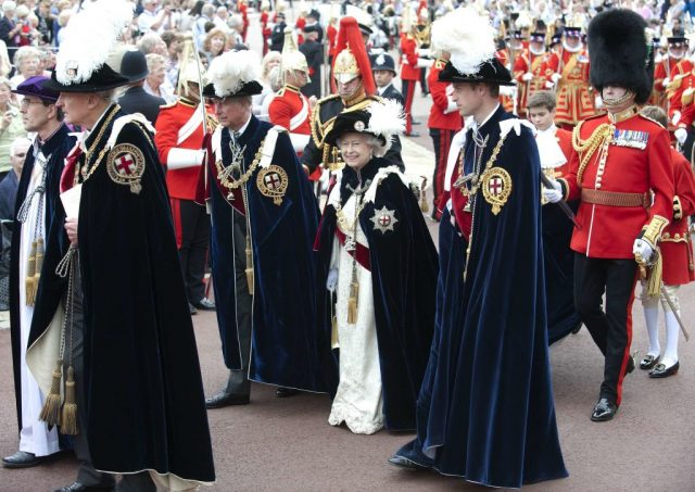 Prince Charles, Queen Elizabeth II, and Prince William attend the Order of the Garter service in 2013
