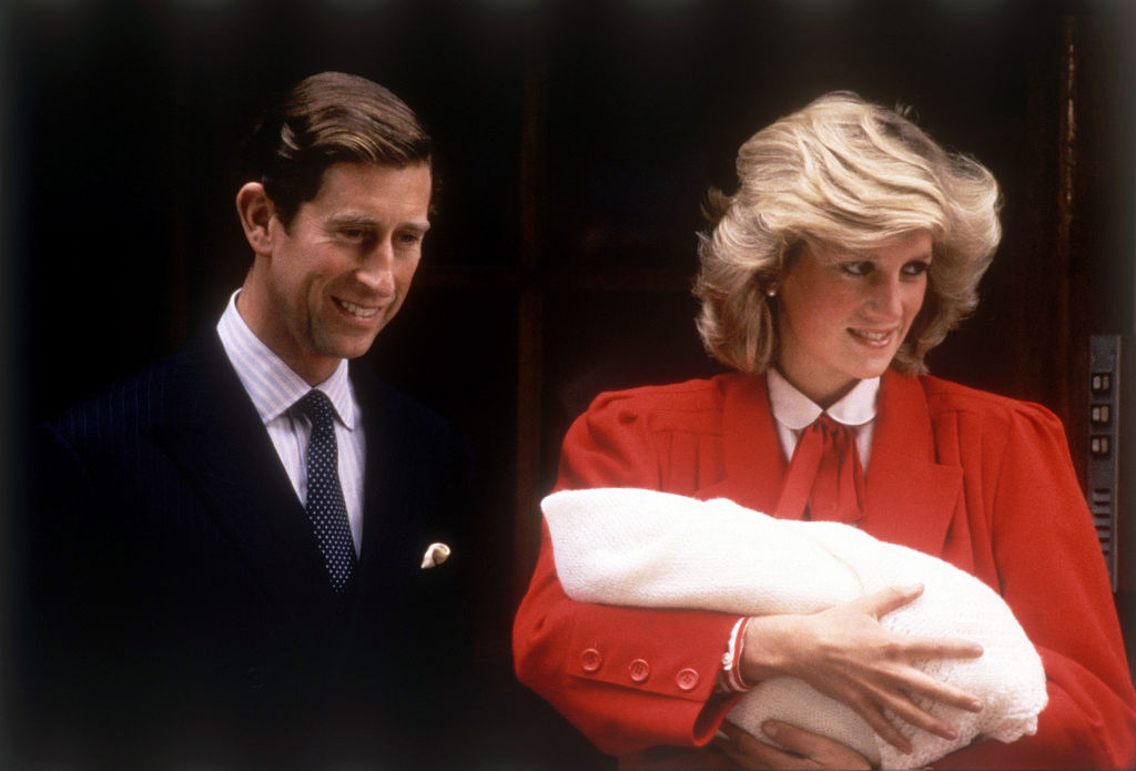 Prince Charles and Princess Diana leaving hospital after the birth of Prince Harry