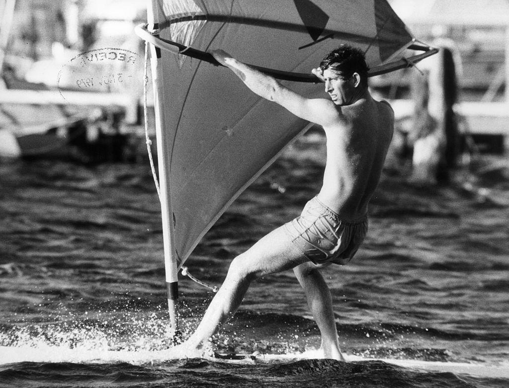 Prince Charles windsurfing