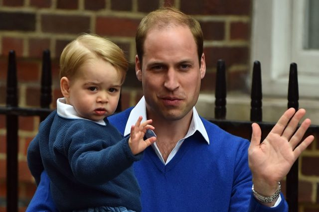 Prince George and Prince William wave outside the Lindo Wing of St. Mary's Hospital, 2015