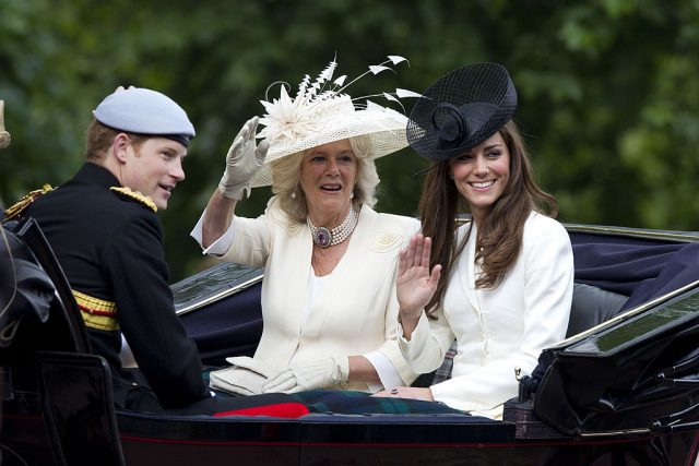Prince Harry, Camilla Parker Bowles, and Kate Middleton at 2011 Trooping the Colour