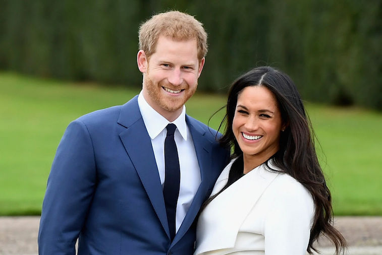 Prince Harry and Meghan Markle at their engagement announcement.
