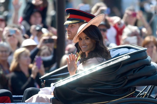 Prince Harry and Meghan Markle at 2018 Trooping the Colour