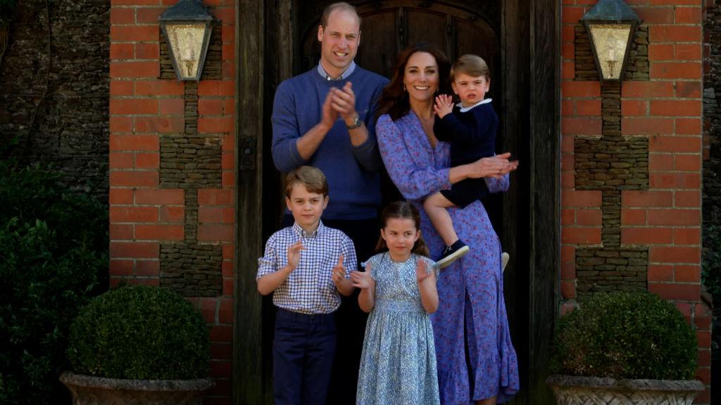 Prince William, Kate Middleton, Prince Louis, Prince George, and Princess Charlott