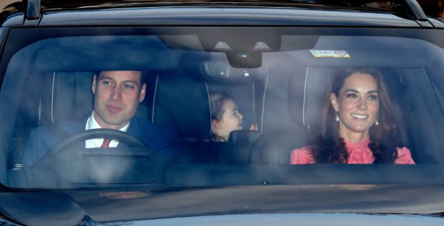 Prince William, Kate Middleton, and Princess Charlotte arrive at Buckingham Palace for Christmas Lunch, 2018