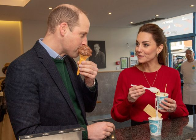 Prince William and Kate Middleton eat ice cream in Wales