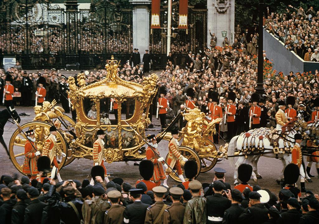 Queen Elizabeth II in gold coach on coronation day