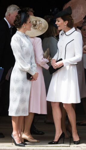 Queen Letizia of Spain and Kate Middleton at the Order of the Garter service in 2019