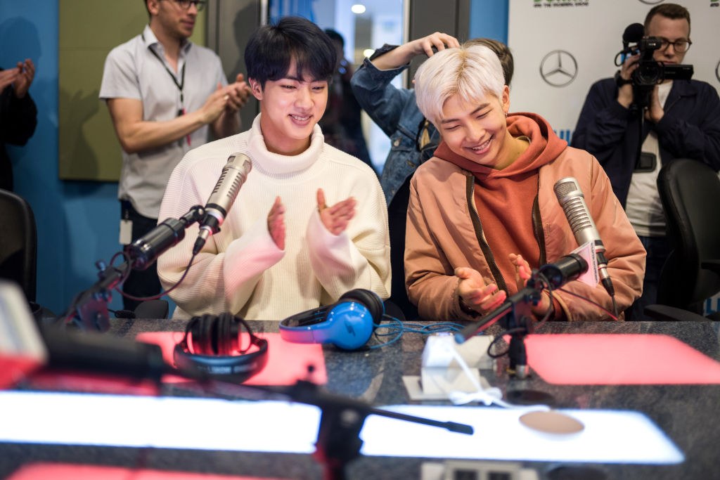 Jin and RM of BTS visit The Elvis Duran Z100 Morning