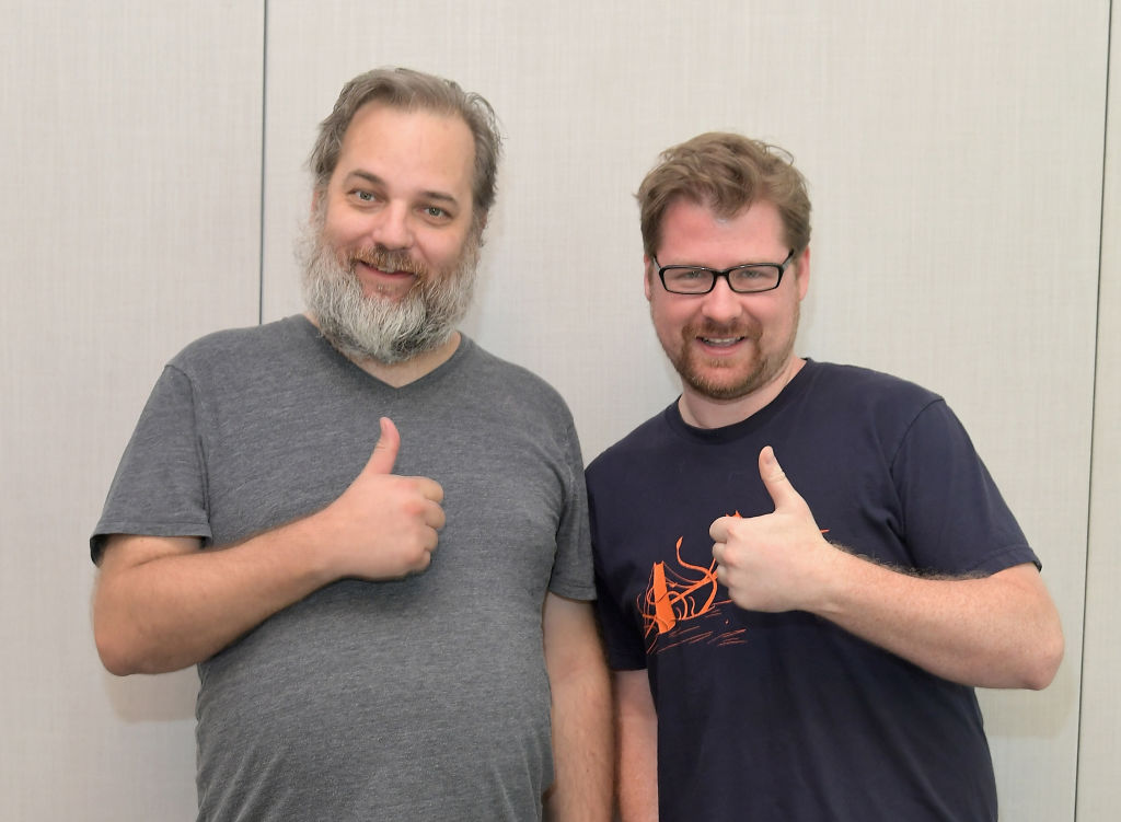 "Co-creators Dan Harmon (L) and Justin Roiland at the ""Rick and Morty"" L.A. Press Junket on July 17, 2017 in Los Angeles, California."