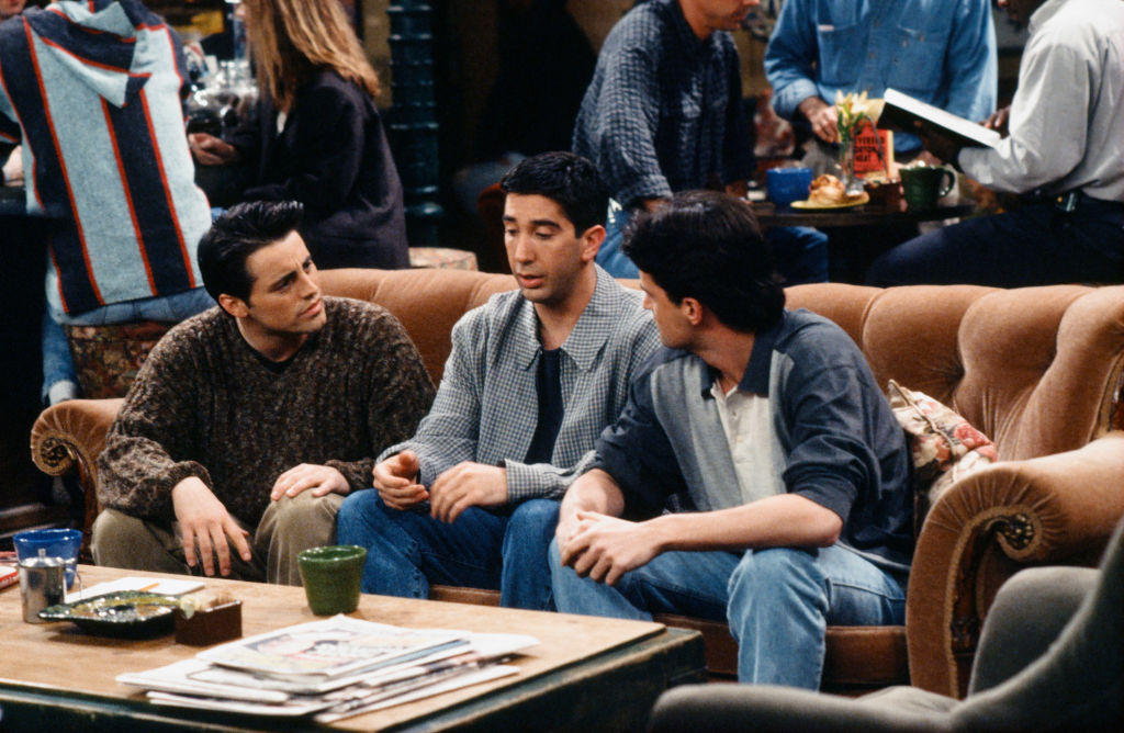 Matt LeBlanc as Joey Tribbiani, David Schwimmer as Ross Geller, and Matthew Perry as Chandler Bing
