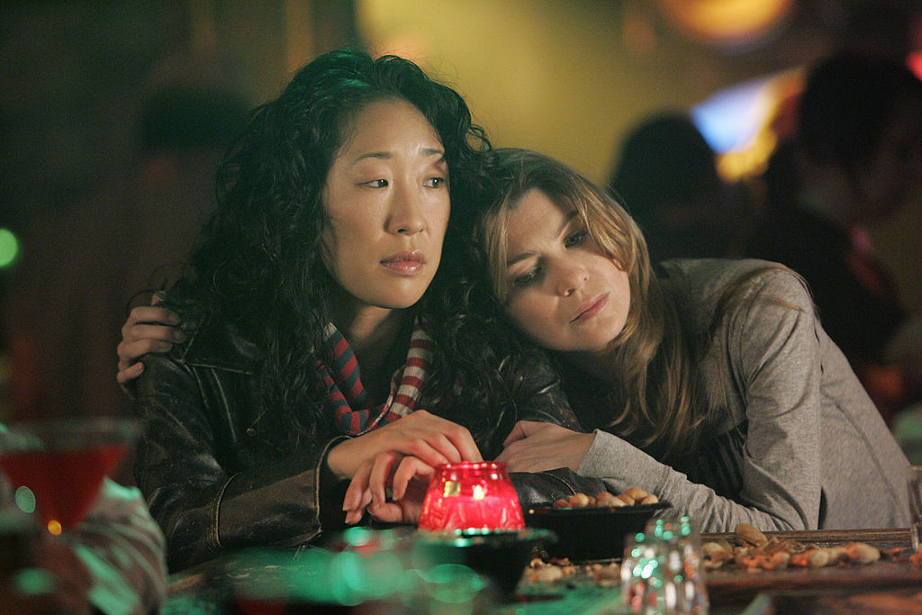 Sandra Oh as Cristina Yang and Ellen Pompeo as Meredith Grey on GREY S ANATOMY