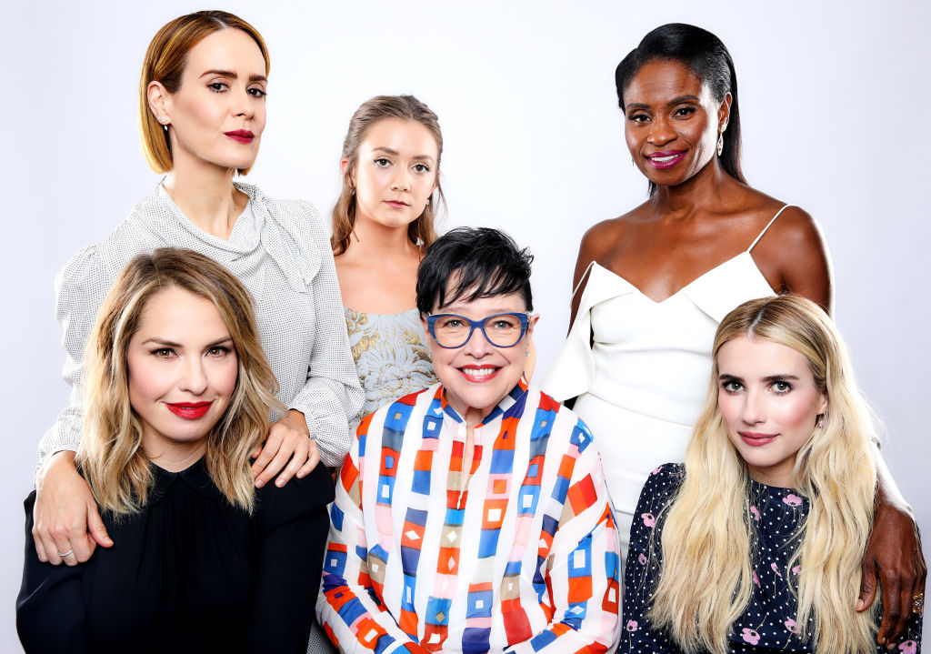 Sarah Paulson, Billie Lourd, Adina Porter, Leslie Grossman, Kathy Bates and Emma Roberts of FX's 'American Horror Story: Apocalypse' pose for a portrait during the 2018 Summer Television Critics Association Press Tour at The Beverly Hilton Hotel on August 3, 2018 in Beverly Hills, California.