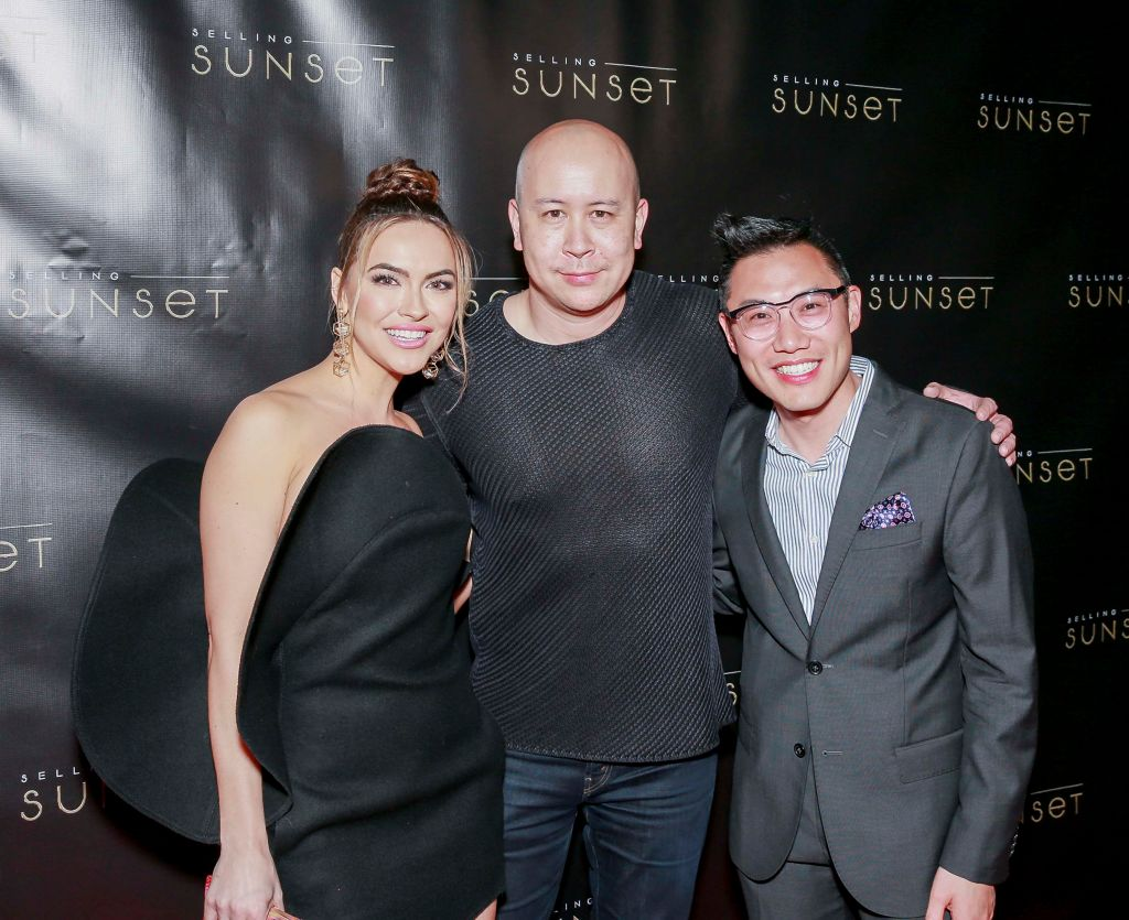 "Chrishell Hartley, Brandon Riegg and Derek Wan attend Netflix's ""Selling Sunset"" launch party"