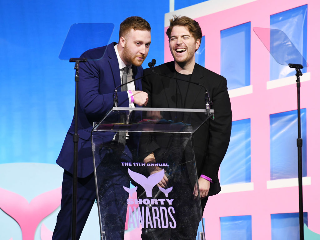 Andrew Siwicki and Shane Dawson speak onstage during the 11th Annual Shorty Awards