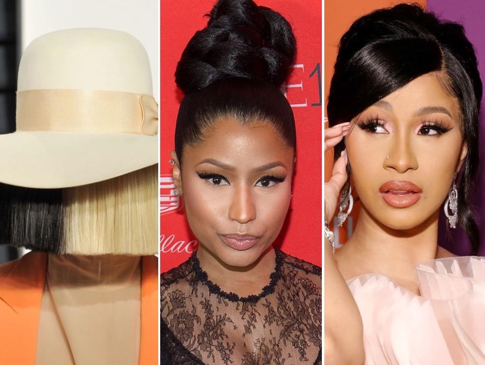 Sia, Nicki Minaj, and Cardi B