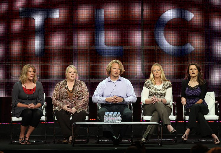 Meri Brwon, Janelle Brown, Kody Brown, Christine Brown and Robyn Brown sit for a panel on their show, 'Sister Wives'