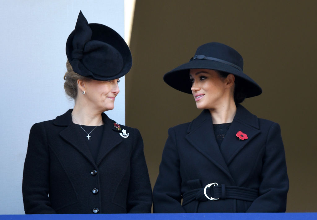 Sophie, Countess of Wessex and Meghan, Duchess of Sussex attend the annual Remembrance Sunday memorial at The Cenotaph on November 10, 2019 in London, England