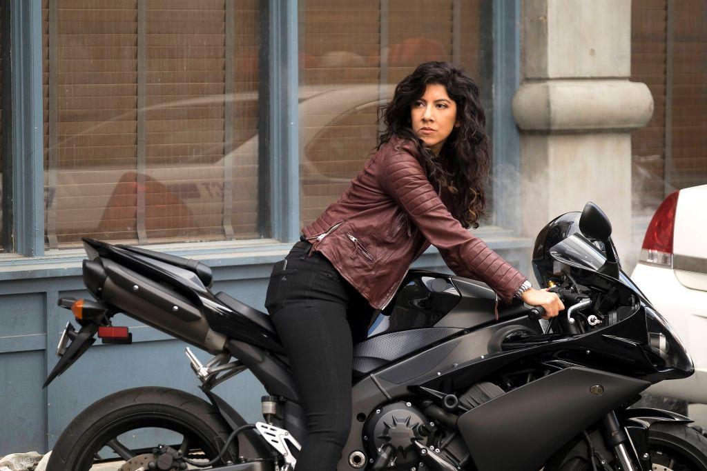 Stephanie Beatriz on set of 'Brooklyn Nine-Nine'