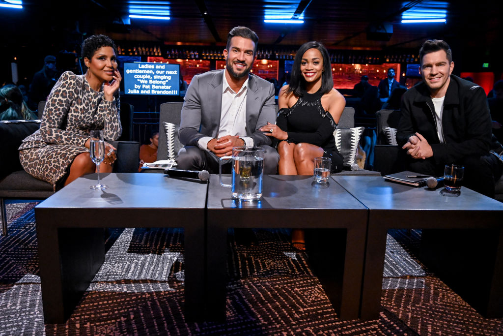 """Rachel Lindsay and Bryan Abasolo, bestselling recording artist Andy Grammer and GRAMMY® Award winner Toni Braxton on """"The Bachelor Presents: Listen to Your Heart"""""""