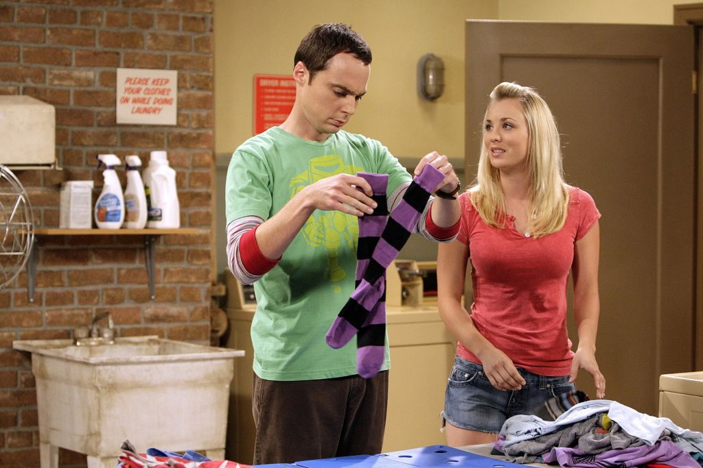 Penny and Sheldon Cooper in the laundry room