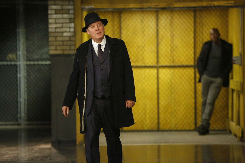"James Spader as Raymond ""Red"" Reddington in an industrial building on set of 'The Blacklist'"