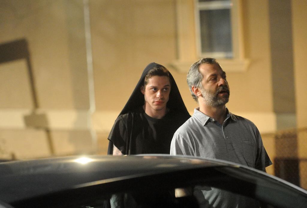 "Pete Davidson and director Judd Apatow on set for Judd Apatow/Pete Davidson project known as ""Staten Island"""
