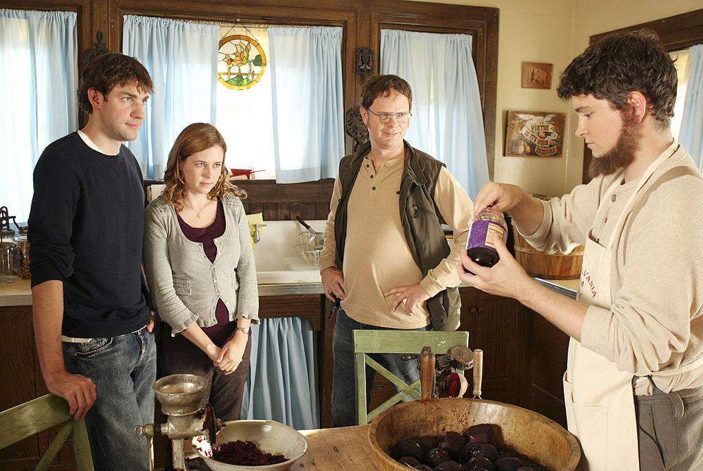 John Krasinski as Jim Halpert, Jenna Fischer as Pam Beesly, Rainn Wilson as Dwight Schrute, and Michael Schur as Mose in 'The Office'