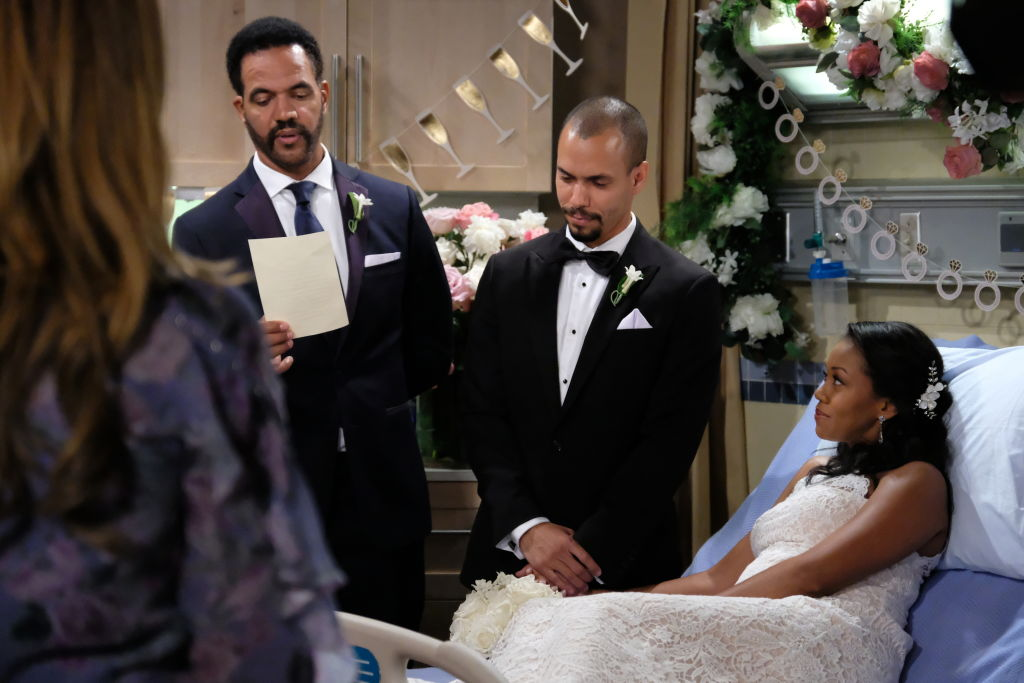 Neil Winters (Kristoff St. John) with family and friends gather for Devon Hamilton (Bryton James) and Hilary Curtis' (Mishael Morgan) on 'The Young and the Restless'