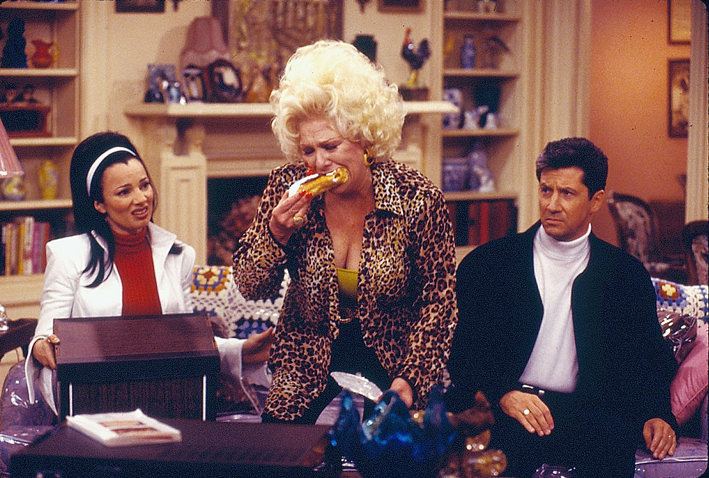 Fran Drescher as Fran Fine, Renee Taylor as Sylvia Fine and Charles Shaughnessy as Maxwell Sheffield