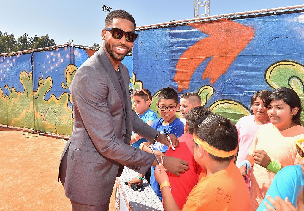 Tristan Thompson signing autographs for kids