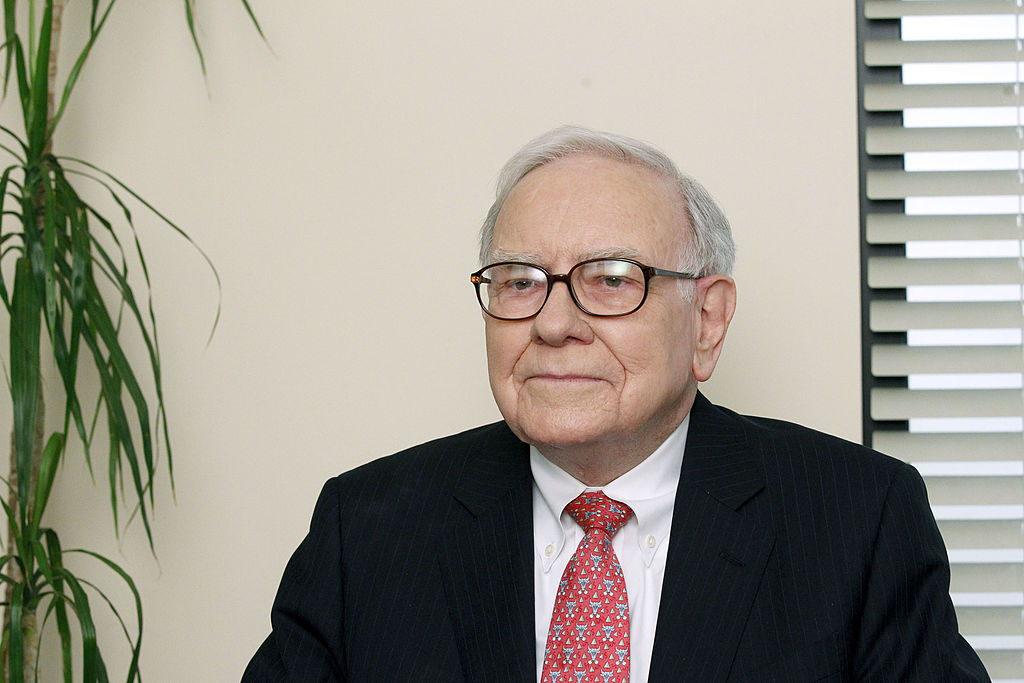 Warren Buffet smiling on set of 'The Office'