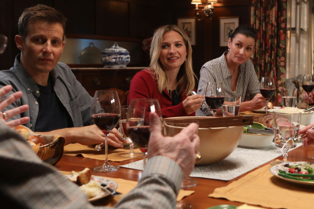 Will Estes, Vanessa Ray, and Bridget Moynahan on the set of 'Blue Bloods.' | Craig Blankenhorn/CBS via Getty Images