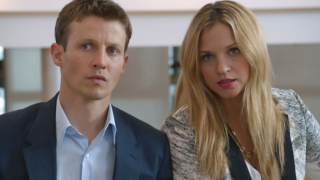 Will Estes and Vanessa Ray on the set of Blue Bloods