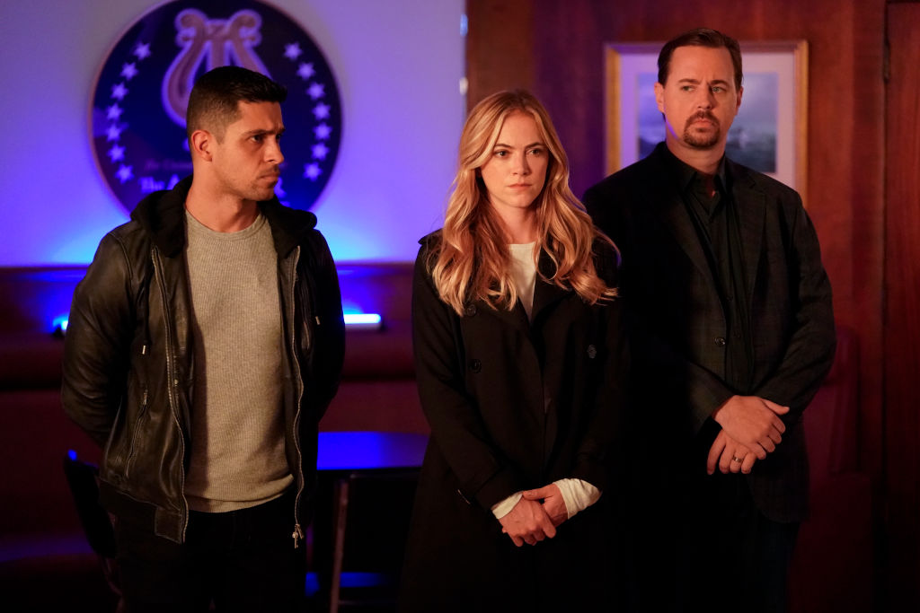 Wilmer Valderrama, Emily Wickersham, and Sean Murray on the set of NCIS | Greg Gayne/CBS via Getty Images