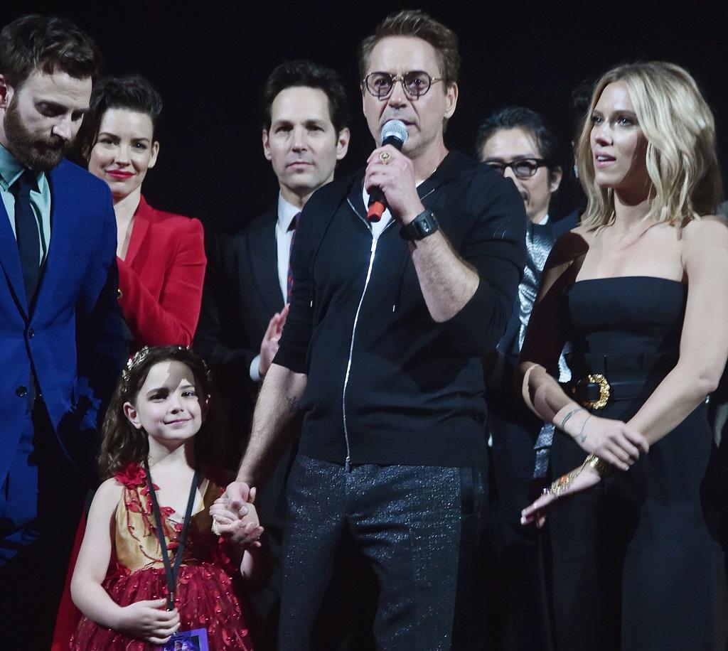 "(L-R) Chris Evans, Alexandra Rabe, Robert Downey Jr., and Scarlett Johansson onstage at the World Premiere of Marvel Studios' ""Avengers: Endgame"" on April 23, 2019"