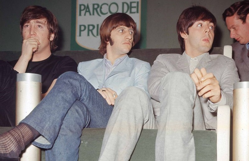 Ringo Starr sits between John Lennon and Paul McCartney in 1965
