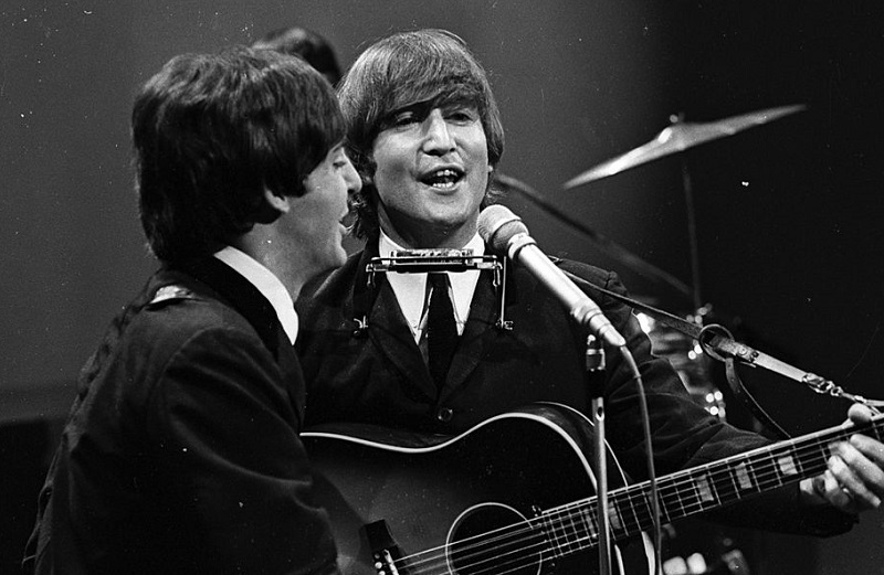 Beatles John and Paul performing