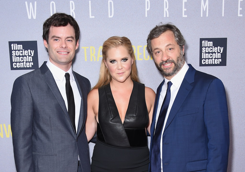 (L-R) Actors Bill Hader and Amy Schumer with director Judd Apatow attend the 'Trainwreck' New York Premiere on July 14, 2015