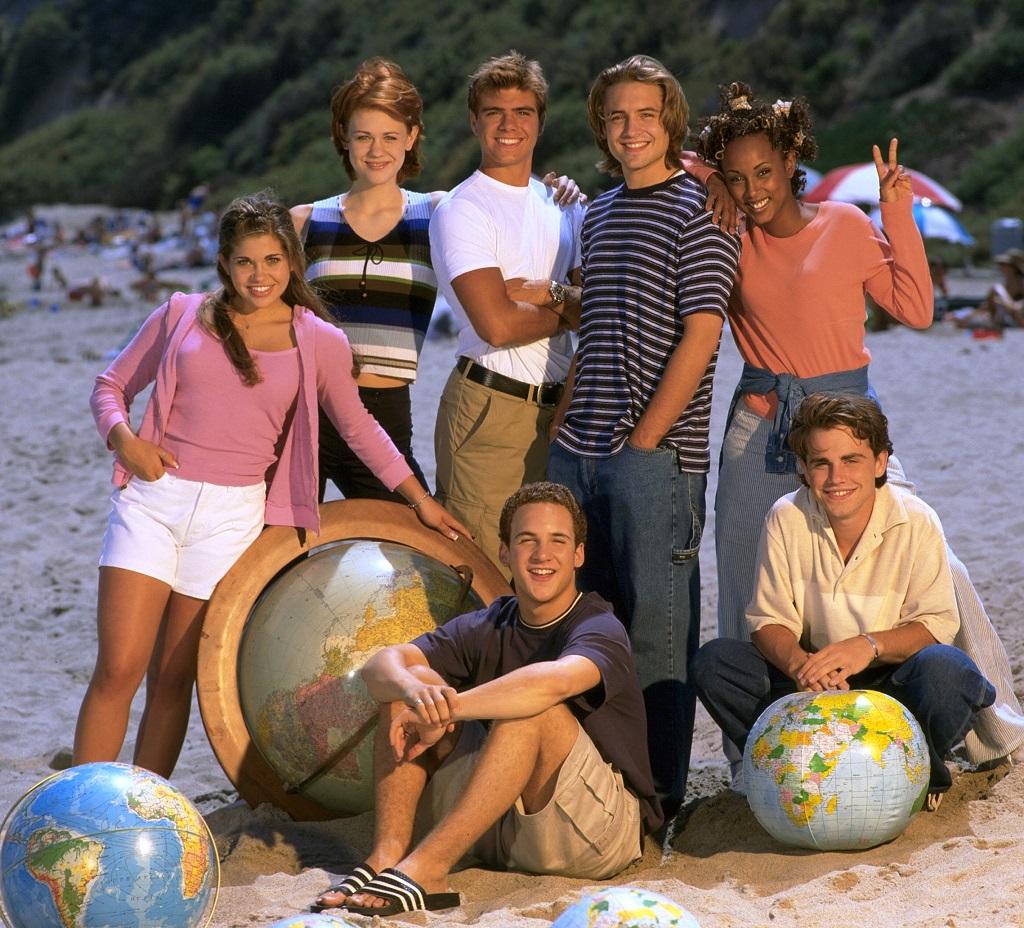 'Boy Meets World' cast (L-R): Danielle Fishel, Maitland Ward, Matthew Lawrence, Ben Savage, Will Friedle, Trina McGee, River Strong