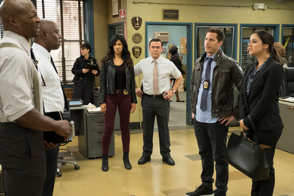 "BROOKLYN NINE-NINE -- ""The Audit"" Episode 413 -- Pictured: (l-r) Terry Crews as Terry Jeffords, Andre Braugher as Ray Holt, Stephanie Beatriz as Rosa Diaz, Joe Lo Truglio as Charles Boyle, Andy Samberg as Jake Peralta, Melissa Fumero as Amy Santiago"
