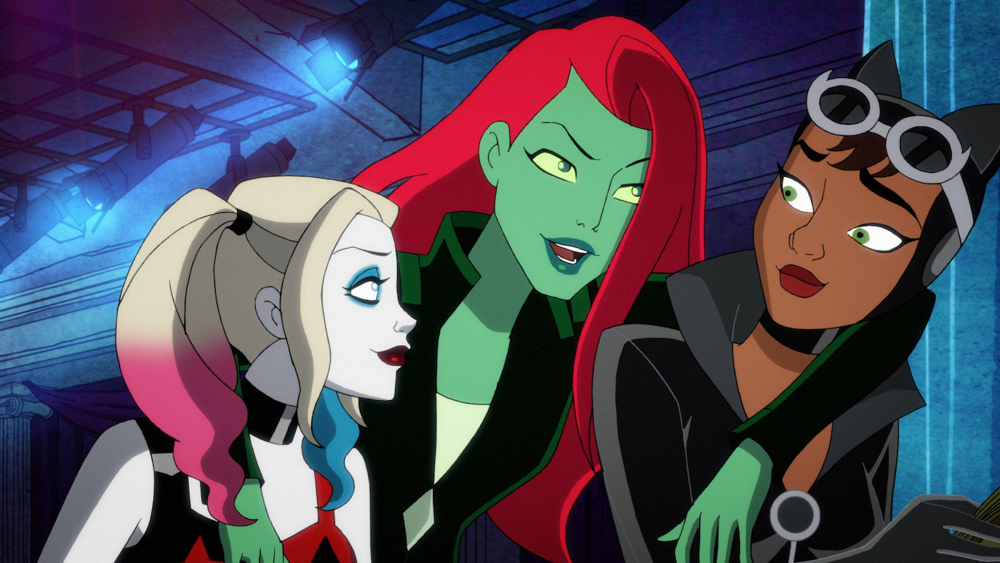 Harley Quinn, Poison Ivy, and Catwoman at Ivy's bachelorette party in Season 2, Episode 9, 'Harley Quinn'