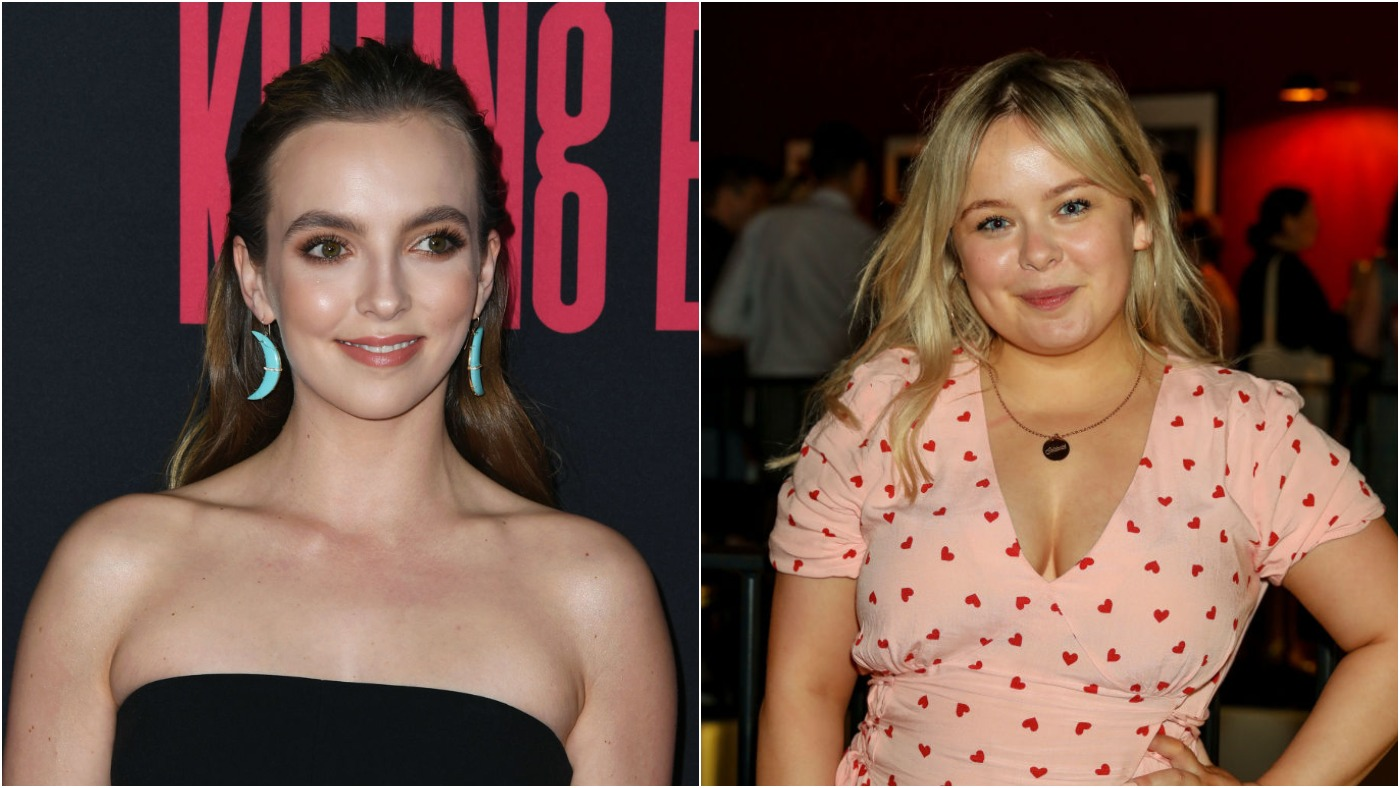 "(L) Jodie Comer at the premiere of BBC America And AMC's ""Killing Eve"" Season 2 on April 01, 2019 / (R) Nicola Coughlan at a special screening and Q&A for new Channel 4 comedy ""This Way Up"" on July 2, 2019 in London, England"