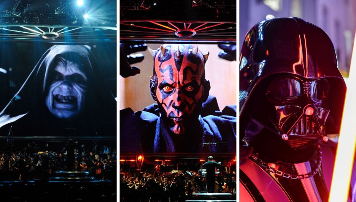"""(L) Ian McDiarmid's Emperor Palpatine from 'Star Wars' on-screen during """"Star Wars: In Concert"""" at the Orleans Arena May 29, 2010 in Las Vegas, Nevada/(C) Ray Park's Maul on-screen at the same event/(R) Darth Vader at the European premiere of 'Star Wars: The Rise of Skywalker' on December 18, 2019."""