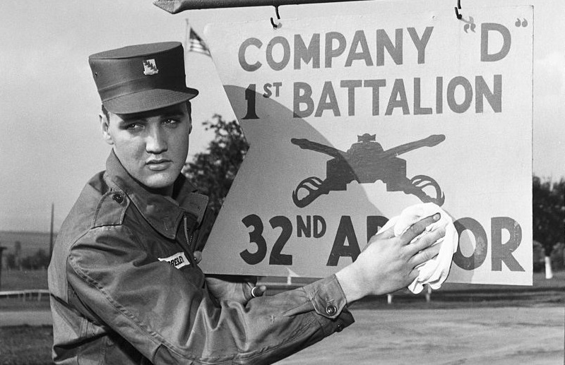 Elvis Presley poses for the camera during his military service at a U.S. base in Germany