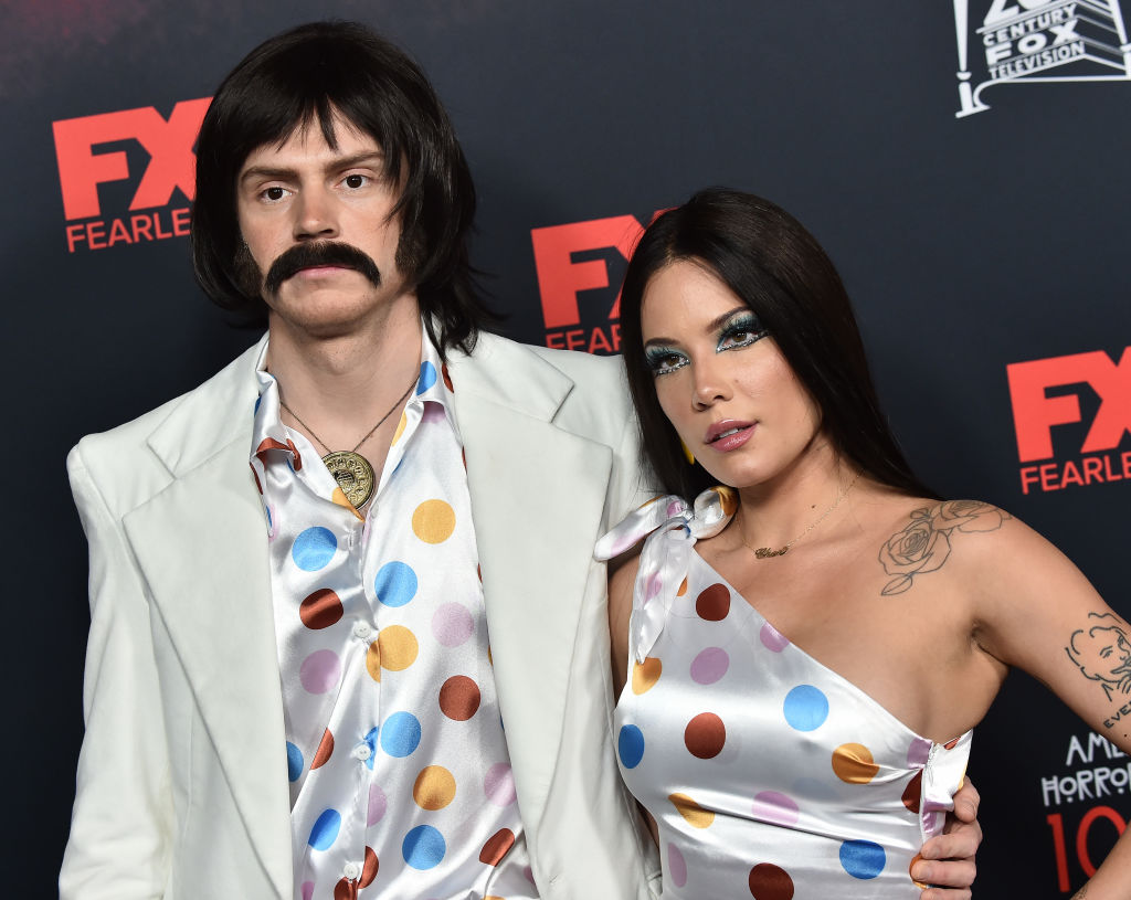 Evan Peters and Halsey arrive for the red carpet event celebrating 100 episodes of FX's 'American Horror Story' on October 26, 2019.