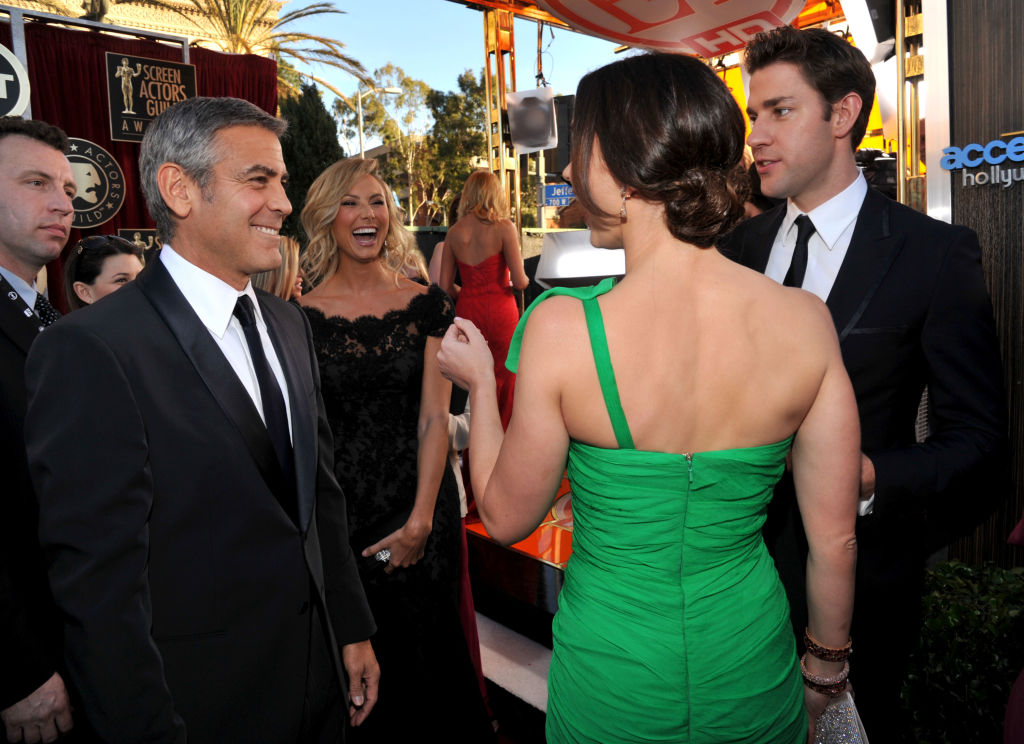 George Clooney, Stacy Keibler, Emily Blunt, and John Krasinski arrive at The 18th Annual Screen Actors Guild Awards