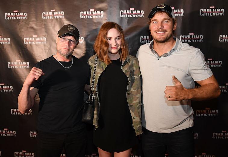 Michael Rooker, Karen Gillan, and Chris Pratt on the red carpet
