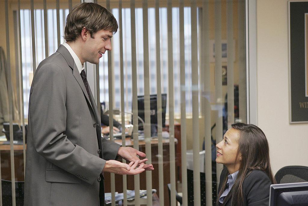 John Krasinski as Jim Halpert and Rashida Jones as Karen Filippelli on 'The Office'